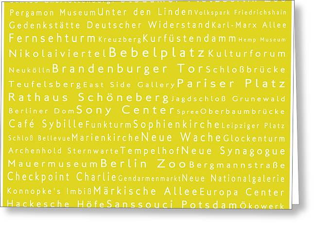 Checkpoint Greeting Cards - Berlin in Words Yellow Greeting Card by Sabine Jacobs