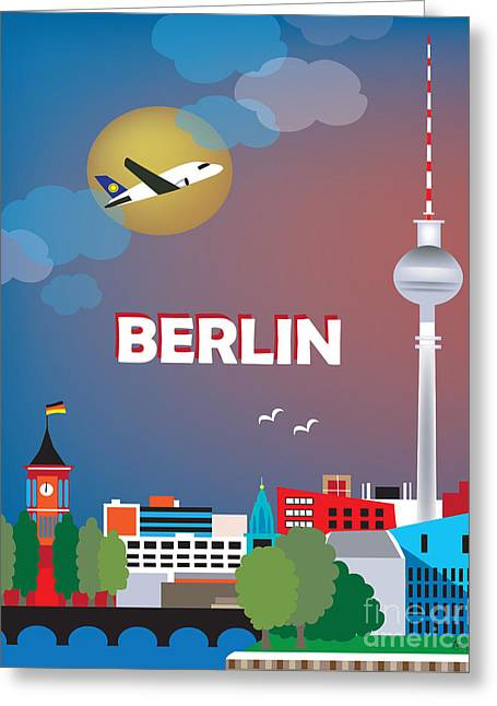 Cute Illustration Greeting Cards - Berlin Greeting Card by Karen Young