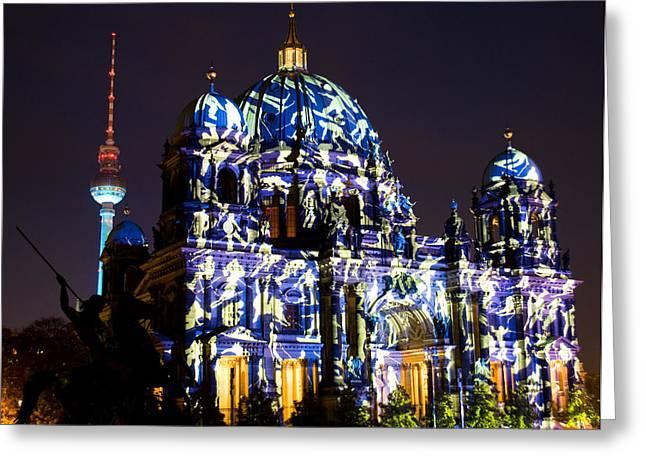 Berlin Light Show Greeting Card by Iryna Soltyska