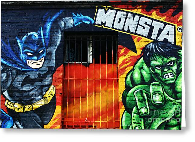 Caped Crusader Greeting Cards - Berlin Monsta Door Greeting Card by John Rizzuto
