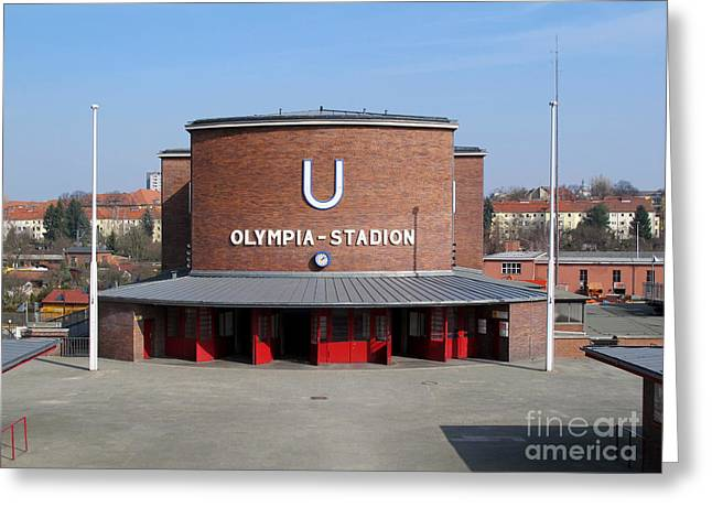 U-bahn Photographs Greeting Cards - Berlin Olympic Stadium Station Greeting Card by Art Photography