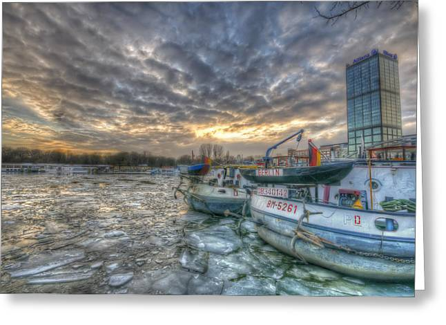 Industrial Background Digital Art Greeting Cards - Berlin ships Greeting Card by Nathan Wright