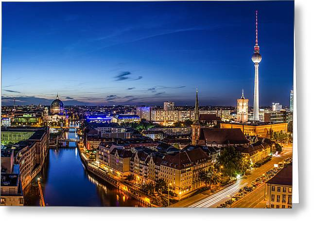 Geschichte Greeting Cards - Berlin Skyline at Blue Hour 1 Greeting Card by Jean Claude Castor