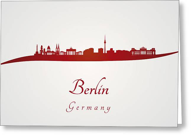 Berlin Germany Greeting Cards - Berlin skyline in red Greeting Card by Pablo Romero