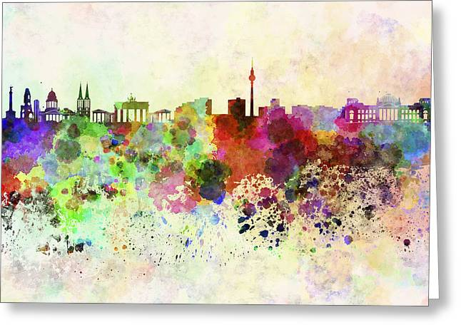 Berlin Germany Greeting Cards - Berlin skyline in watercolor background Greeting Card by Pablo Romero