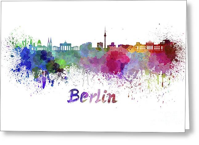 Berlin Germany Paintings Greeting Cards - Berlin skyline in watercolor Greeting Card by Pablo Romero