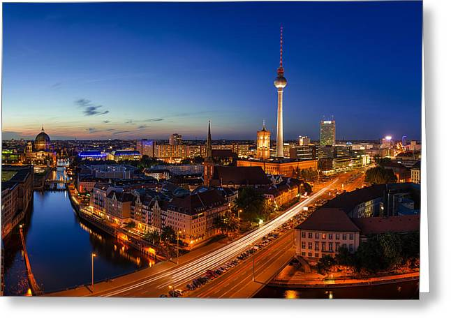 Dome Pyrography Greeting Cards - Berlin Skyline Panorama Greeting Card by Jean Claude Castor