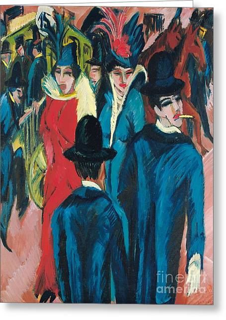 Stylized Paintings Greeting Cards - Berlin Street Scene Greeting Card by Ernst Ludwig Kirchner