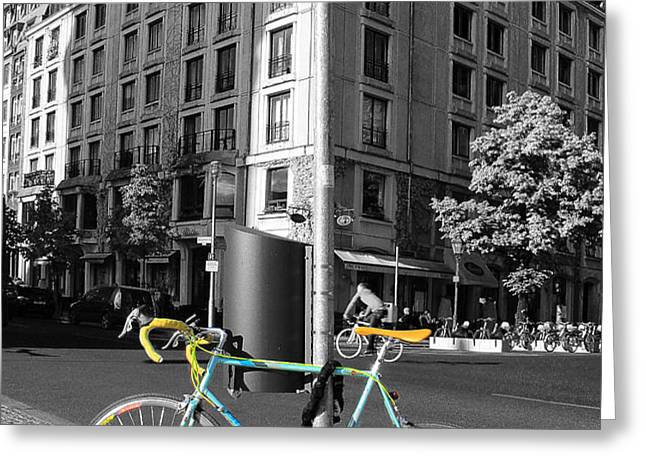 Berlin Street View With Bianchi Bike Greeting Card by Ben and Raisa Gertsberg