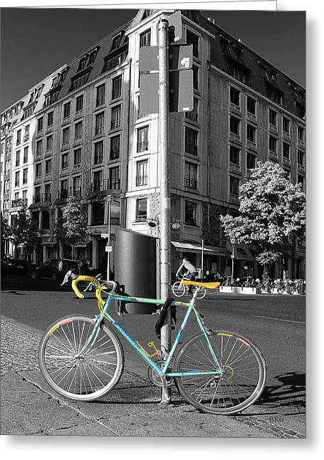 Ben Gertsberg Greeting Cards - Berlin Street View With Bianchi Bike Greeting Card by Ben and Raisa Gertsberg