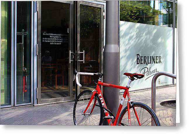 Berlin Street View With Red Bike Greeting Card by Ben and Raisa Gertsberg