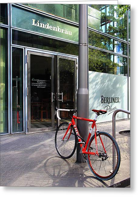 Berliner Pilsner Greeting Cards - Berlin Street View With Red Bike Greeting Card by Ben and Raisa Gertsberg