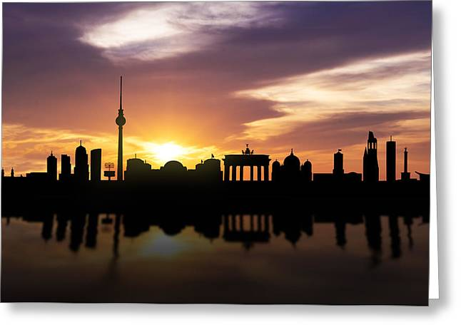 Berlin Mixed Media Greeting Cards - Berlin Sunset Skyline  Greeting Card by Aged Pixel