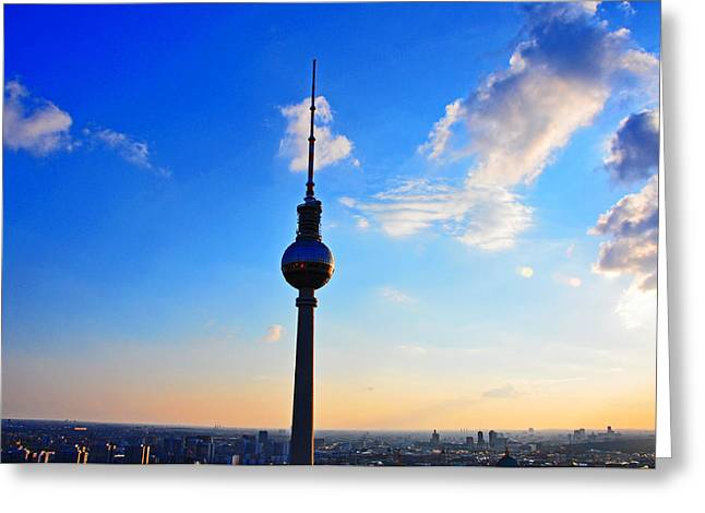 View Pyrography Greeting Cards - Berlin TV Tower Greeting Card by Steffen Schumann