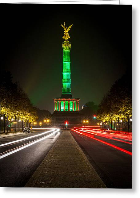Prospect Place Greeting Cards - Berlin Victory Column In Green Light Greeting Card by Robert Frank