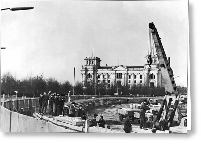 West Berlin Greeting Cards - Berlin Wall Construction Greeting Card by Underwood Archives