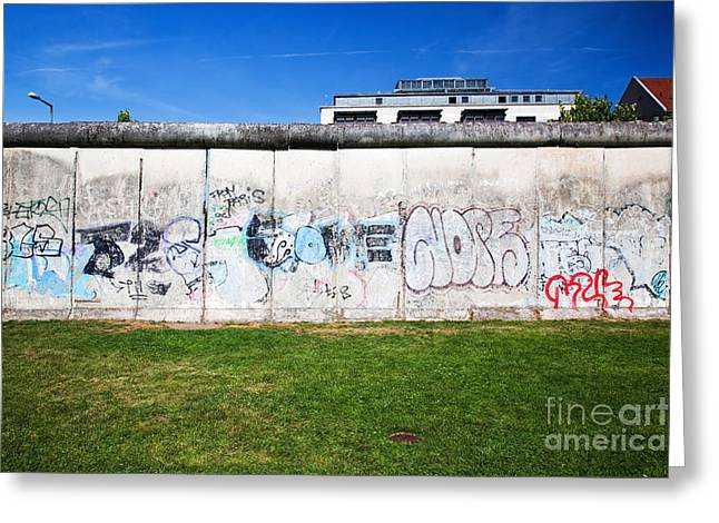 Berlin Wall Greeting Cards - Berlin Wall Memorial with graffiti  Greeting Card by Michal Bednarek
