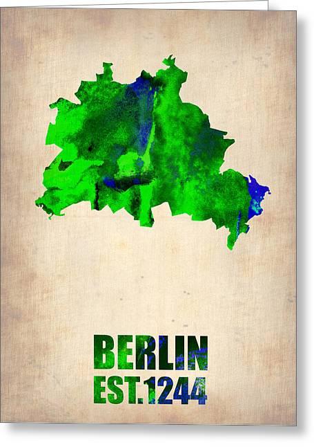 Berlin Art Greeting Cards - Berlin Watercolor Map Greeting Card by Naxart Studio
