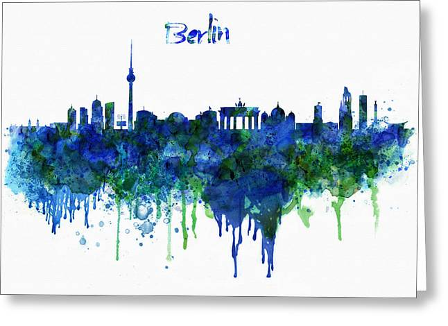 Berlin Germany Greeting Cards - Berlin watercolor skyline Greeting Card by Marian Voicu