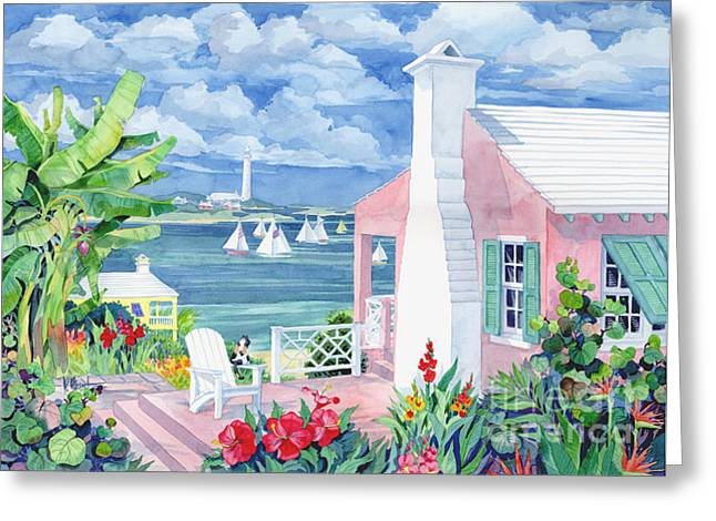 Aqua Blue Greeting Cards - Bermuda Cove Greeting Card by Paul Brent