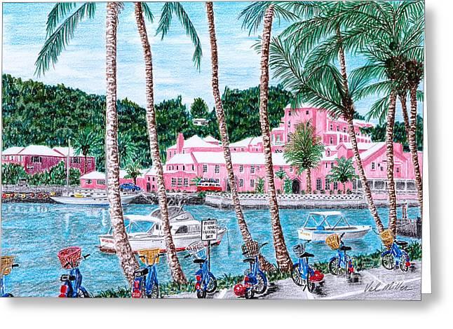 Ocean. Reflection Drawings Greeting Cards - Bermuda Pink Hotel Greeting Card by Val Miller