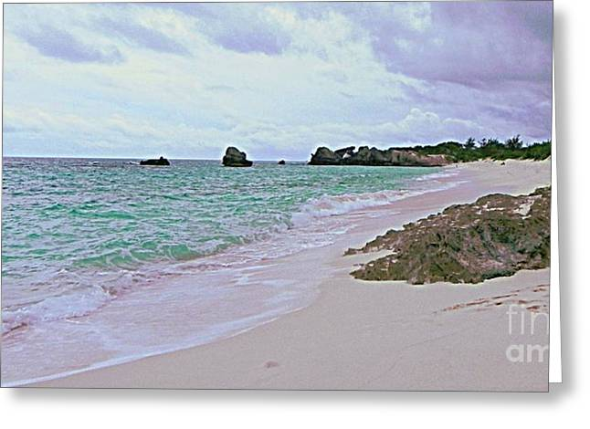 Sofa Size Greeting Cards - Bermuda Pink Prints in the Sand Greeting Card by Shelia Kempf