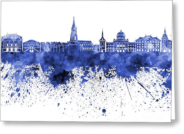 Clipping Path Greeting Cards - Bern skyline in blue watercolor on white background Greeting Card by Pablo Romero