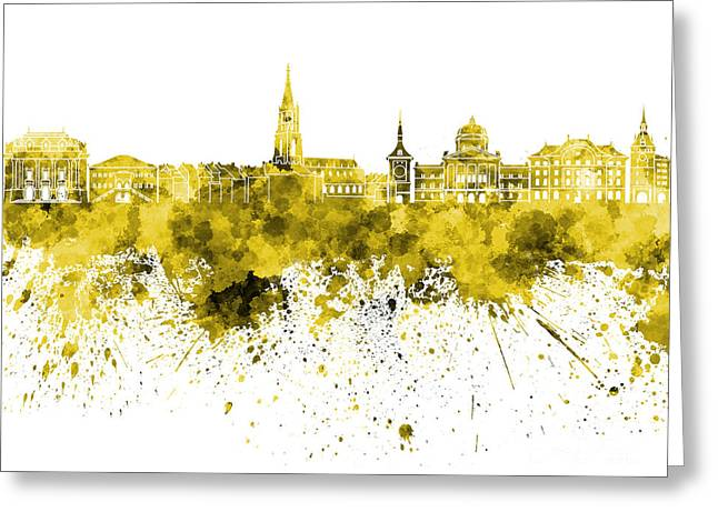 Clipping Path Greeting Cards - Bern skyline in yellow watercolor on white background Greeting Card by Pablo Romero
