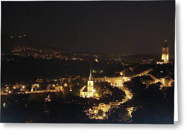 City Lights Pyrography Greeting Cards - Bern Switzerland by night Greeting Card by A J