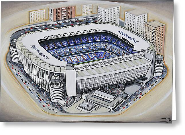 Soccer Greeting Cards Greeting Cards - Bernabeu - Real Madrid Greeting Card by D J Rogers