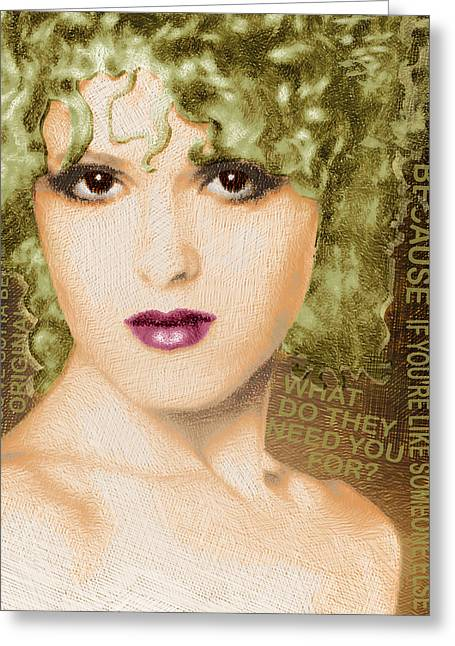 Musical Film Mixed Media Greeting Cards - Bernadette Peters Gold and Quote Greeting Card by Tony Rubino