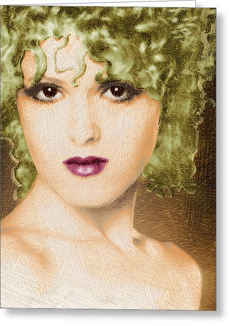 Musical Film Mixed Media Greeting Cards - Bernadette Peters Gold Greeting Card by Tony Rubino