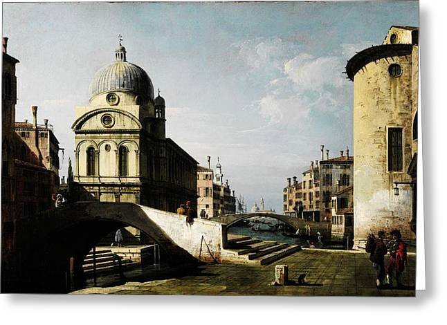 Constable Greeting Cards - Bernardo Bellotto Venezianisches Capriccio mit Ansicht von Santa Maria dei Miracoli Greeting Card by MotionAge Designs