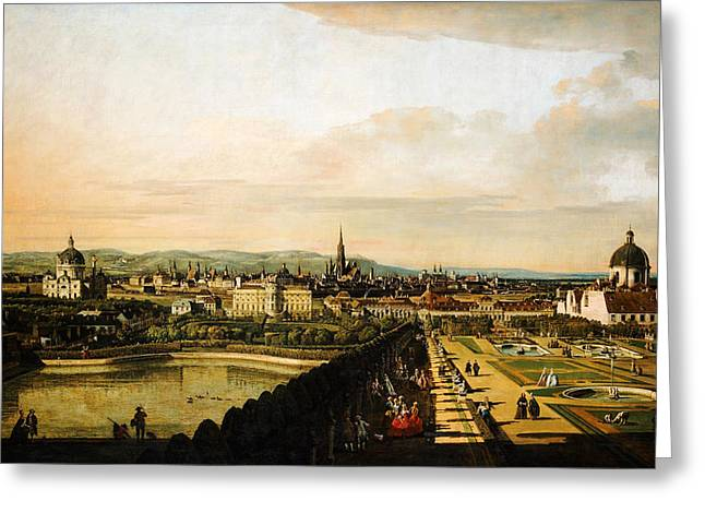 Kilburne Posters Greeting Cards - Bernardo Bellotto Wien vom Belvedere aus gesehen 1758 1761 Greeting Card by MotionAge Designs