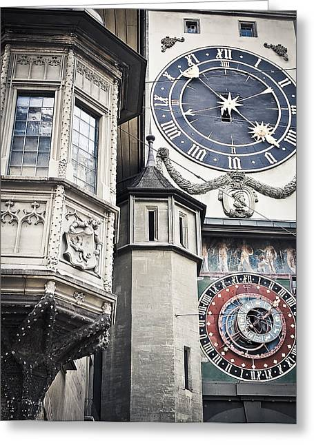 Town Square Greeting Cards - Berne Famous Clock Greeting Card by Mesha Zelkovich