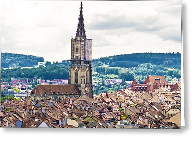 Berne Canton Greeting Cards - Berne Switzerland Panorama Greeting Card by Mesha Zelkovich
