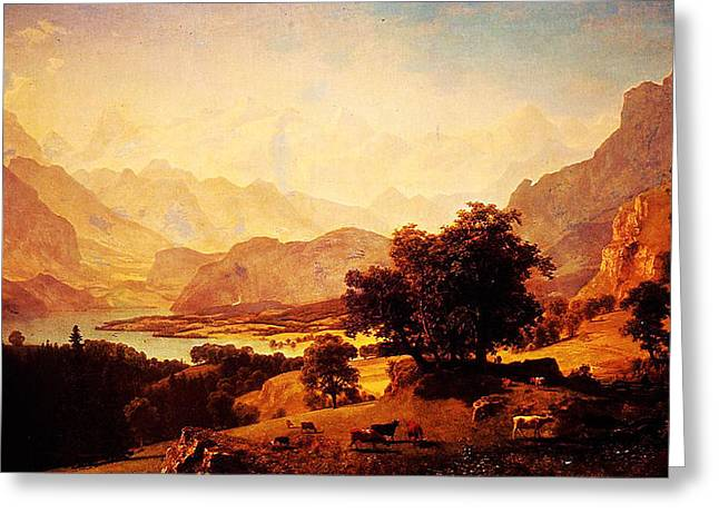 Constable Greeting Cards - Bernese Alps As Seen Near Kusmach 1859 Greeting Card by MotionAge Designs