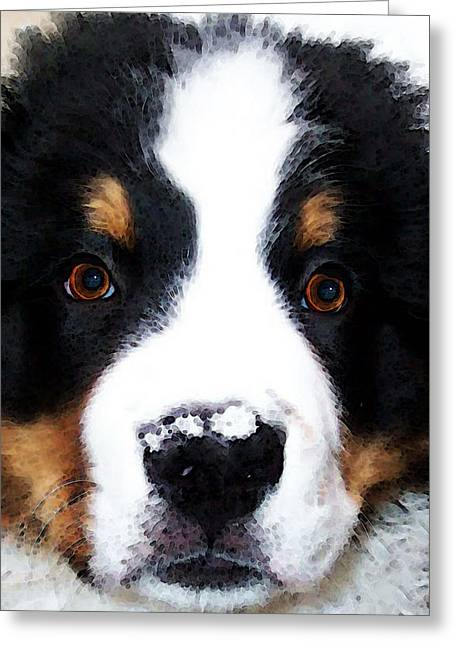 Breeds Greeting Cards - Bernese Mountain Dog - Baby Its Cold Outside Greeting Card by Sharon Cummings