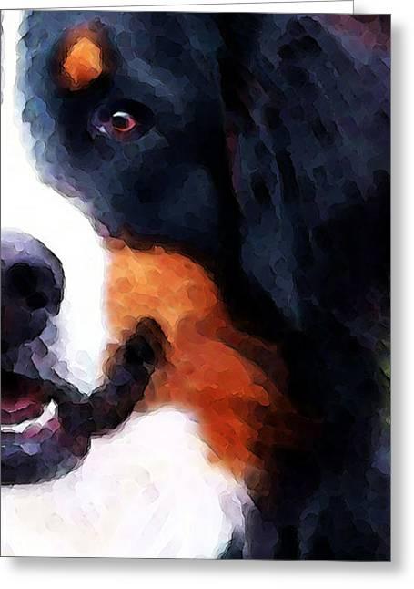 Bernese Greeting Cards - Bernese Mountain Dog - Half Face Greeting Card by Sharon Cummings