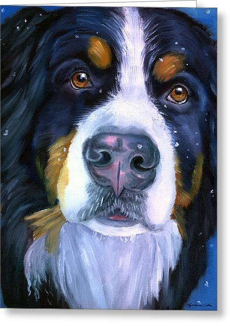 Snowfall Greeting Cards - Bernese Mountain Dog in Snowfall Greeting Card by Lyn Cook