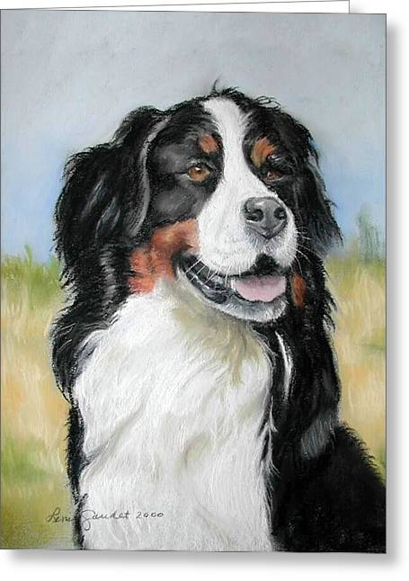 Working Dog Pastels Greeting Cards - Bernese Mountain Dog Greeting Card by Lenore Gaudet