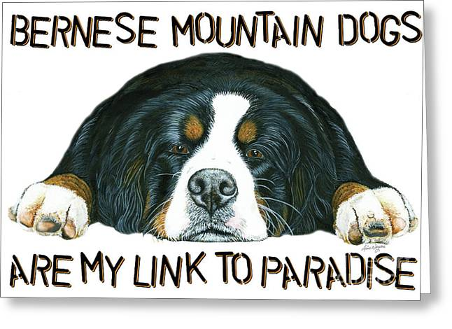 Berner Greeting Cards - Bernese Mountain Dog Paradise Greeting Card by Liane Weyers
