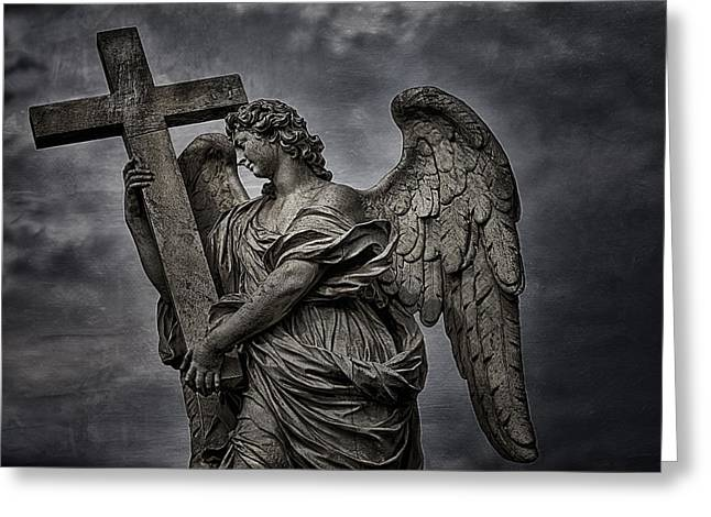 Angel Blues Greeting Cards - Berninis statue of angel Greeting Card by Erik Brede