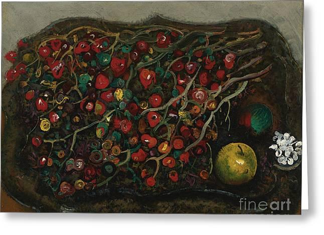 Orthodox Paintings Greeting Cards - Berries And Apples Greeting Card by Boris Grigoriev