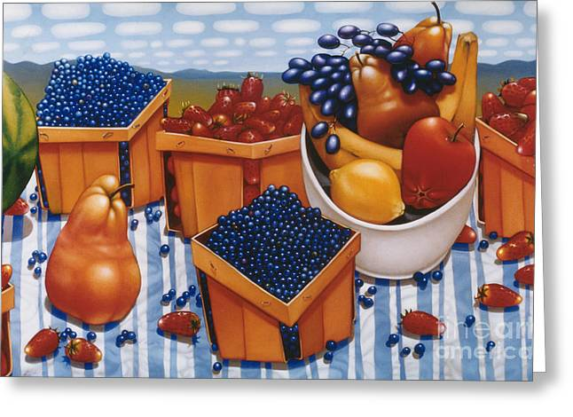 Banana Paintings Greeting Cards - BERRIES AND FRUIT 1997  Skewed perspective series 1991 - 2000 Greeting Card by Larry Preston