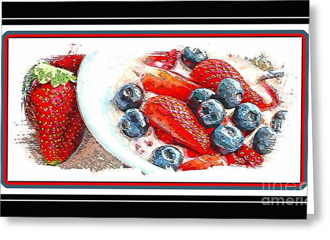 Berries and Yogurt Illustration - Food - Kitchen Greeting Card by Barbara Griffin