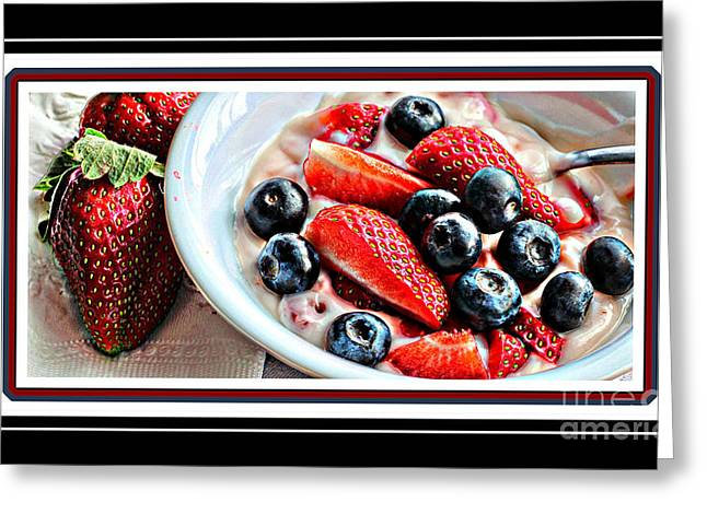 Tangy Digital Art Greeting Cards - Berries and Yogurt Intense - Food - Kitchen Greeting Card by Barbara Griffin