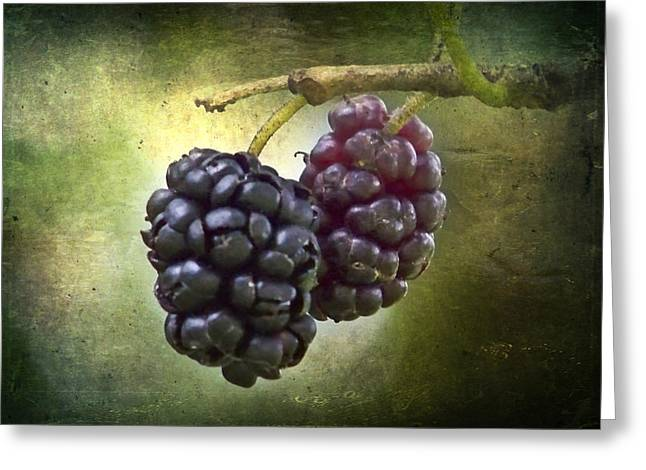 Light And Dark Mixed Media Greeting Cards - Berries Greeting Card by Melissa Smith
