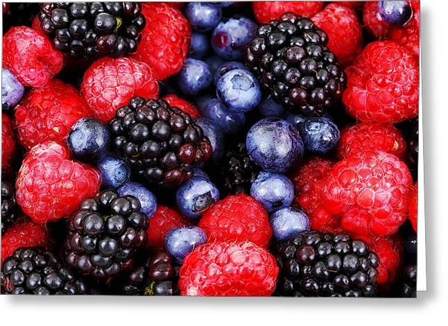 Abstract Blueberries Greeting Cards - Berry Delight Greeting Card by Mountain Dreams