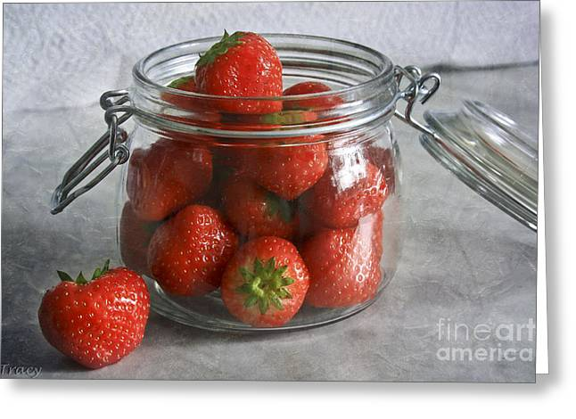 Berry Strawberries Greeting Card by Tracy  Hall
